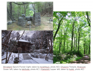 World Heritage Sites in Tohoku Region, Japan. Shirakami Sanchi Forests, Chusonji Temple in Hiraizumi, Steel Furnace in Meiji Era, Kamaishi